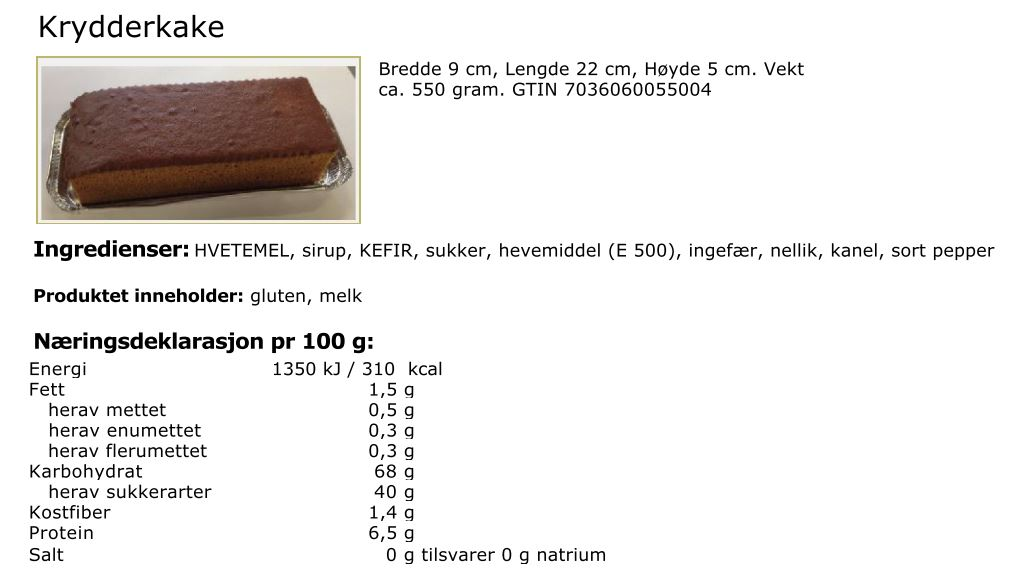 Krydderkake info